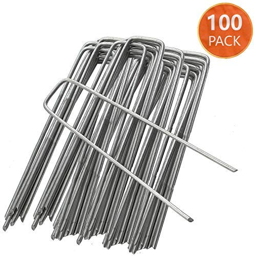 ANSIO Packung mit 100-Gartenpflöcke Stakes Klammern sichern Rasen U-förmige Nagel-Pins 150 mm / 6 Zoll -Ideal für Unkrautbekämpfungsmembran/Stoff/Kunstrasen/Netzgewebe Verzinkte Bodenstifte