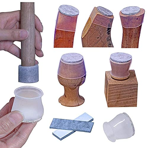Furniture Leg Covers, Felt Bottom Soft Silicone Small Chair Leg Protector, 16 Pcs Table Leg Cover and 32 Pcs Felt Strips, Small Metal Leg Protector Cap for Stool, Protect the Floor, Transparent cover.