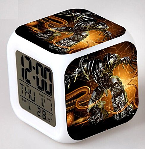 Enjoy Life : Cute Digital Multifunctional Alarm Clock with Glowing Led Lights and Transformers Sticker, Good Gift for Your Kids, Comes with Bonuses (01)