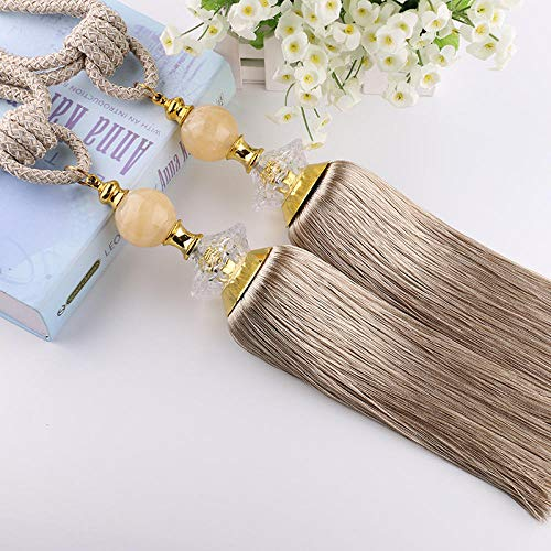 Handmade Curtain Clips Rope Tie Band ,Simple Style Wall Mounted Curtain Tieback,Tassel Curtain Tie Backs ,2 Pieces -Bronze