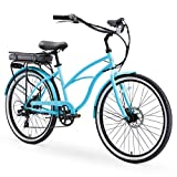sixthreezero Around The Block Women's Electric Bicycle, 7-Speed Beach Cruiser eBike, 500 Watt Motor, 26' Wheels, Teal Blue with Black Seat and Grips