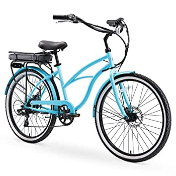 sixthreezero Around The Block Women s Electric Bicycle 7-Speed Beach Cruiser eBike 500 Watt Motor 26  Wheels Teal Blue with Black Seat and Grips