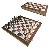 SLKIJDHFB Portable Chess Set,Foldable Chess Board Set Handmade Wooden Chessboard Folding Board Chess Game International Chess Set for Kids Party Family Activities-15x 15inch Magnetic Foldable Board…