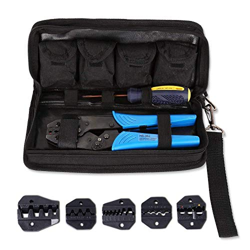 Amzdeal Crimpzange, Kabelschuhzange mit 5 wechselbaren Einsatzbacken und Ratschenfunktion für isolierte Verbinder (mit Tasche und Kreutzschlitz Schraubendreher)