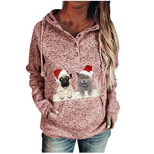Binggong Damen Weihnachtsmotiv Hoodie Kapuzenupullover Xmas Print Langarmshirt Frauen Katze Muster Druck Longpullover Pulli Beiläufige Oberteil