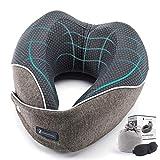 Herrenfeuer ® Nackenkissen mit patentiertem V Design für optimale Kopf Stabilisierung - Ideales Reisekissen für Flugzeug, Auto oder Bus - Atmungsaktiv (M)