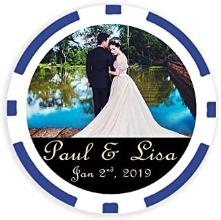 DA VINCI 50 Custom Wedding Save The Date Poker Chip Magnets Personalized with Your Image and Text