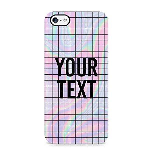 Personalized Customizable Text Name Citazione Iniziale Pastel Kawaii Holographic Acid Rainbow Quote Custodia Protettiva in Plastica Rigida Case Cover Compatible with iPhone 5 / 5s / SE Case