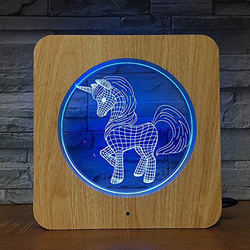 Marco De Madera Led Foto Luz De Noche Toque Colorido Decoración Del Hogar Lámpara De Mesa Luz De Noche Inteligente 3D