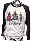 DUTUT Women Christmas Leopard Plaid Printed Tree T Shirts Raglan Sleeve Top Tees Baseball Shirt (Black, L)