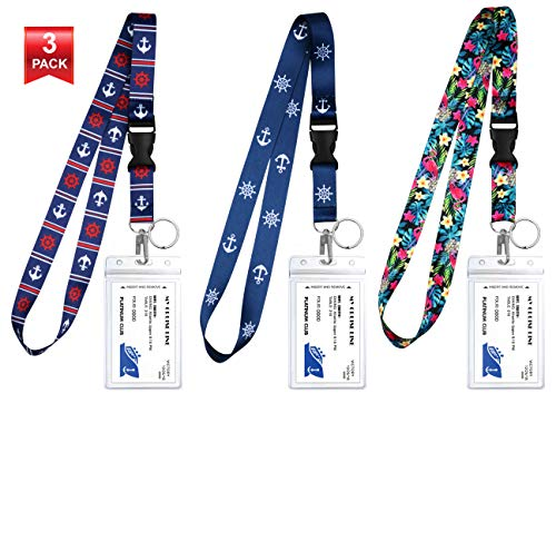 3-Pack Assorted Designs Lanyards with ID Holder & Key Ring for Keys, Cruise Ship Card, Teachers, Nurses. Waterproof Clear ID Badge Case. Essential Cruise Ship & Work Accessories. Nautical Collection E