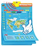 Learn & Climb Interactive World Map for Kids - Set of 5 Electronic Talking Posters with Over 1000 Facts