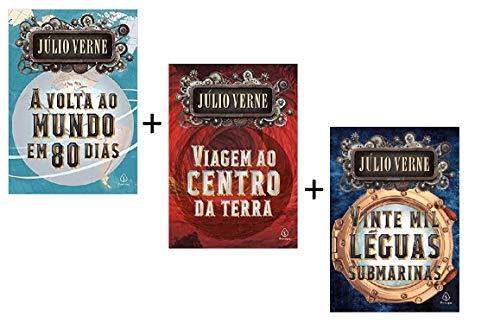 Kit Júlio Verne 3 Livros | Volta Ao Mundo Em 80 Dias | Vinte Mil Léguas Submarinas | Viagem Ao Centro Da Terra