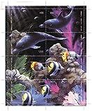 Meerestiere Minze Briefmarkenbogen mit Szene von Meer Unterwasserwelt mit Fischen , Delfinen und Meeresflora/ Batum / MNH