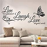 Live Laugh Love Wall Decal Art, Vinyl Live Laugh Love Wall Decor Stickers Motivational Quotes for Bedroom, Removable Wall Sign Mural DIY Home Decorations Decals, 10.7x22.8inch,Black