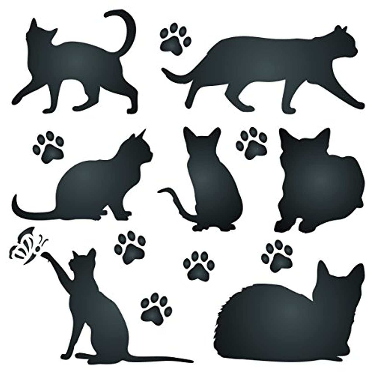 Cat Silhouette Stencil - 6.5 x 6.5 inch (M) - Reusable Pet Friend Animal Wall Stencil Template - Use on Paper Projects Scrapbook Journal Walls Floors Fabric Furniture Glass Wood etc.