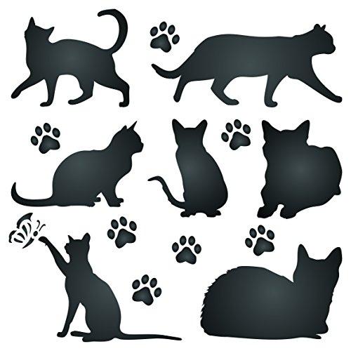 Plantilla de silueta de gato – Plantilla de pared reutilizable para mascotas - 16.5 x 16.5cm - M