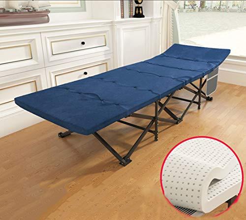 Lit de camping avec matelas, lit pliant simple, lit de pause déjeuner de bureau avec poche latérale / tube carré en acier renforcé lit compact invité à 10 pieds Lit Siesta, 178 / 190X71X41CM