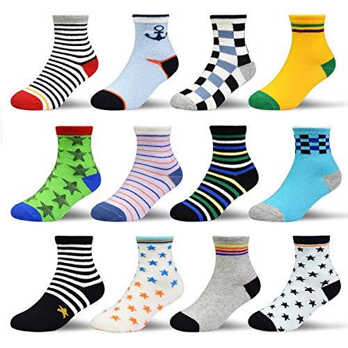 HYCLES ABS Socken Kinder - 12 Paar Anti Rutsch Socken Baby Jungen Mädchen Kinder Kleinkind 16-23-26-31(EU) für 1-3 Jahre Dunkelblauer Stil (12 Paare)
