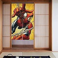 スパイダーマン ドアカーテン 網戸 玄関 86 X 143cm 玄関カーテン 遮光ドア 装飾間仕切り 取付簡単 ドア/ベランダ/玄関/勝手口
