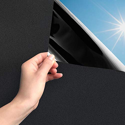 MARAPON ® Fenster Sichtschutzfolie schwarz selbstklebend [90x200 cm] inkl. eBook mit Profitipps - Verdunkelungsfolie mit Anti-UV - Privacy Window Film
