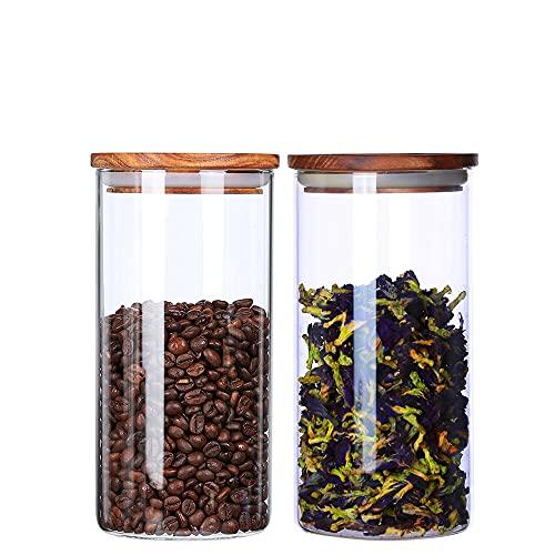 KKC Vorratsdosen Glas Luftdicht mit Holzdeckel,Lebensmittel Aufbewahrungsgläser mit Deckel,Behälter Küche Glas für Kaffeebohne Kräutern Tee,Glasdosen,1150ML im 2er Set
