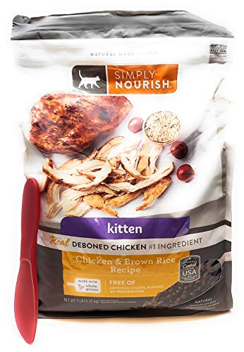 SIMPLY NOURISH Kitten Dry Cat Food - Chicken and Brown Rice, 7 Pounds and Especiales Cosas Mixing Spatula