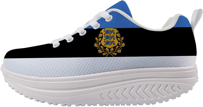 Owaheson Swing Platform Toning Fitness Casual Walking shoes Wedge Sneaker Women Estonia Flag National Emblem