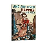 "xingyao Póster retro de entretenimiento, póster de libros y texto en inglés ""The Lived Happily Ever ..."