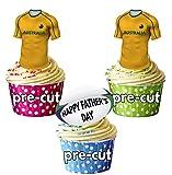 AK Giftshop Prédécoupée Pères Australie Maillot de Rugby et Balle–Comestibles pour Cupcakes/Gâteau Décorations (Lot DE 12)