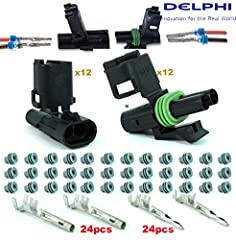 12 Set Delphi Packard Weatherpack ( 2 Circuit ) Terminal Kit 14 16 AWG 20 Amp Max Rating* Enviromentally Sealed Delphi Weather Pack connector bodies are locking Nylon and sealed against moisture, dust and dirt Temp Range -40ºC -125ºC