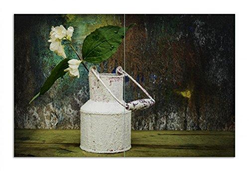 Wallario Herdabdeckplatte/Spritzschutz aus Glas, 2-teilig, 80x52cm, für Ceran- und Induktionsherde, Motiv Jasmin Blumen in Einer Alten Milchkanne