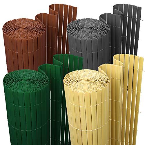 wolketon Sichtschutzmatte Sichtschutzzaun Sichtschutz Windschutz PVC Zaun Ideal für Garten Balkon Terrasse, UV-beständig Wetterfest, 90x600cm Farbe: Grau
