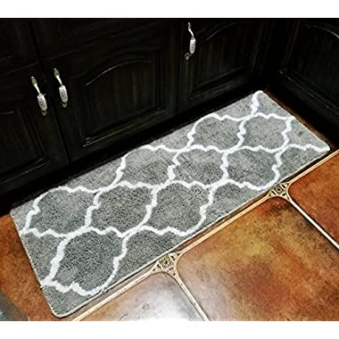 Hihome Floor Mats for Home Kitchen Entrance Rug Indoor Grey Doormat Bath mat (18×47 , Grey)