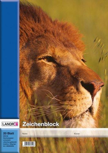 Landre Zeichenblock A3, 20 Blatt, 100 g/m² Zeichen-Karton, geheftet, 4 Tier-Motive sortiert, 10er Pack