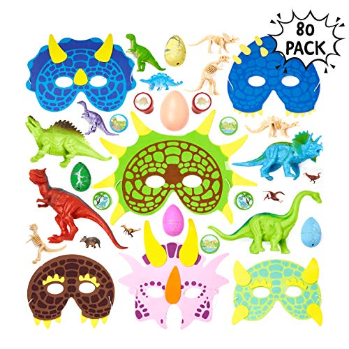 80pcs Dinosaurier Spielzeug Sortiment | Innenspielzeug | Dinosaurier Themenparties Kinder Give Aways | Dino Maske Stempel, Tattoos, Dino-Eier, Schaummasken Kindergeburtstag Gastgeschenke