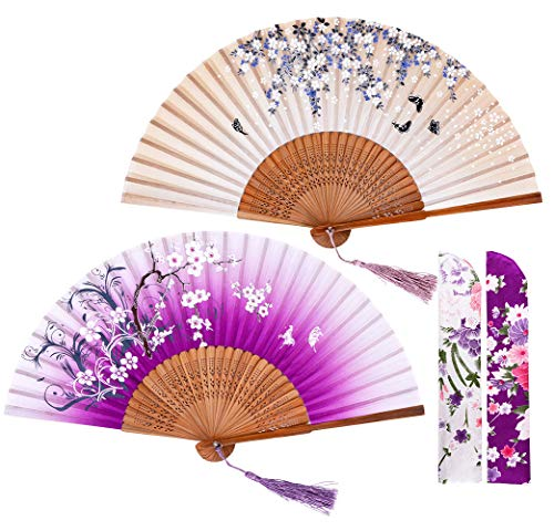 Amajiji Hand Held Folding Fans for Women, Chinese Japanese Vintage Bamboo Silk Hand Fans, Perfect for Party, Wedding, Dancing, Decoration, Performance, Gift 2 Pack (2 Pack-Brown Violet)