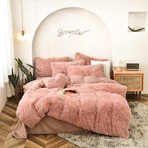 CoutureBridal Juego de ropa de cama, 155 x 220 cm, color rosa, funda nórdica de pelos largos de franela con cremallera y funda de almohada 80x80 cm