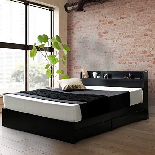 ビックスリー ベッド キャスター付き 引き出し収納 木製ベッド 棚付き 宮付き コンセント付き ブラック セミダブル ベッドフレームのみ