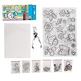 Kit de láminas de plástico termocontraíble, 12 piezas Lápices de colores Llaveros Cierre Correa de cordón Kit de correas móviles para niños Proyecto de escuela artesanal