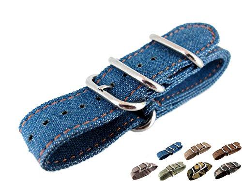 JRRS7777 22mm Canvas Watch Strap Sports Army Blue Jeans Denim Pattern Professionnel ZULU NYS-128