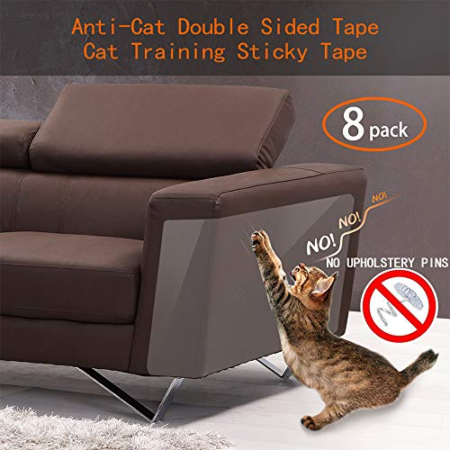 Anti Cat Scratching Deterrent Tape, Scratch Protection Tapes for Pet, Clear Double Sided Training Tape, How to Love Your Pet by Protect Your Upholstered Furniture is the Best choice(Pins free)(8 Pack)