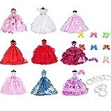 Fully Set de 9 Piezas de Vestido de Fiesta de la Boda de la Noche Vestido + 10 Pares de Zapatos + 9 Piezas de Collar de Perlas para 29cm / 11.41 'Barbie Doll (Estilo C)