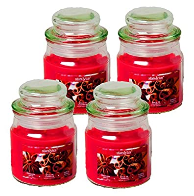 Set of 4 Starlyte Food & Aroma Scented 3 Oz Natural Soy Blend Candles In Apothecary Jar W/Lid