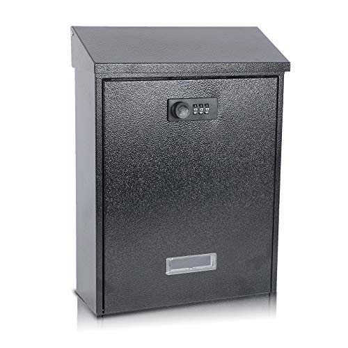 xydled Mail Boxes with Combination Lock,Locking Mailbox Wall Mounted,Large Capacity,Steel Cover Metal Postbox for House,12.7×9.4×3.4 Inch, Black