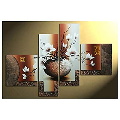 Wieco Art - Stretched and Framed 100% Hand-Painted Modern Canvas Wall Art Elegant Flowers for Home Decoration Floral Oil Paintings on Canvas 4pcs/Set from Wieco Art