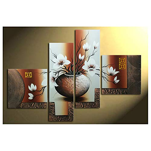 Wieco Art 4-Piece Elegant Flowers Stretched and Framed...