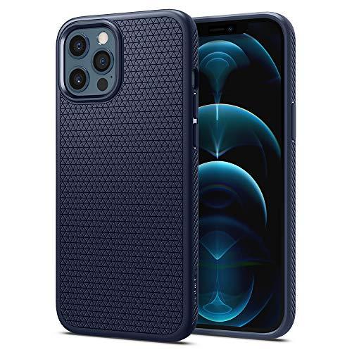 Spigen Liquid Air Coque Compatible avec iPhone 12 Compatible avec iPhone 12 Pro - Bleu Marin
