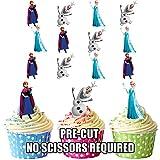 AK Giftshop prédécoupés Disney La Reine des neiges Elsa et Anna–Comestible pour Cupcakes/gâteau Décorations (Lot de 12)