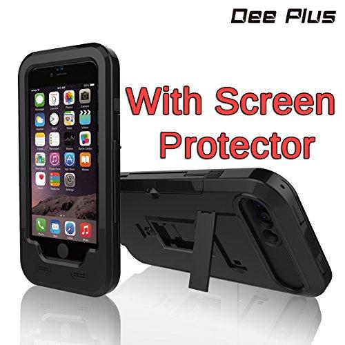 Dee Plus iPhone 7 Plus/iPhone 8 Plus Support pour Velo Etanche | Mount pour Telephone Portable/Smartphone Stand | Fixation Sure | Imperméable | Noir avec iPhone 7 Plus/8 Plus Verre trempé